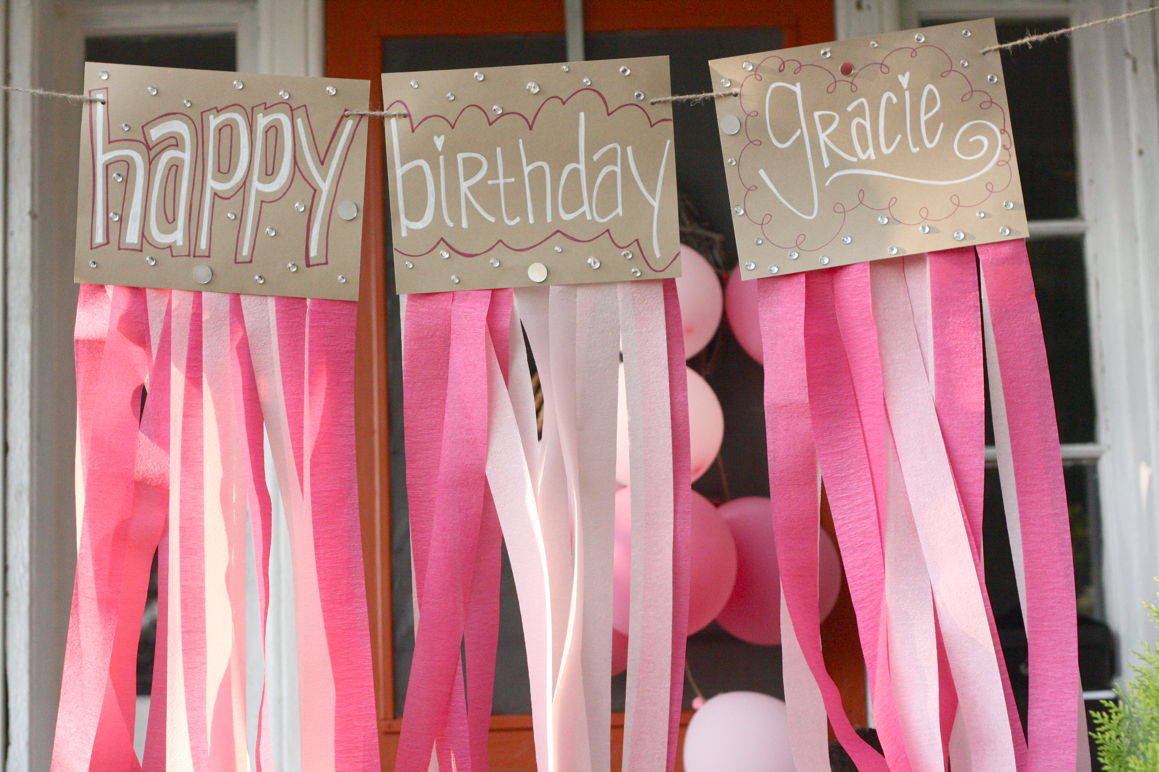 diy perfectly pink birthday decorations in a snap RICEdesigns